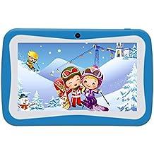 Kivors Tablet para Niños - Tablet Infantil de 7 Pulgadas( Android 5.1, Quad Core,8 GB ROM, HD 1024x600, 1.2 GHz, Wi-Fi, Doble Cámara, Bluetooth, Google Play) (Azul)