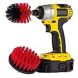 Jamicy® Bürste für Bohrmaschine, 2er/Set Drill Brush 4' und 2,5' Medium Steifheit Rotierende Bürste Akkuschrauber Auto, Teppich, Badezimmer, Holzboden, Waschküche, Küche (Rot)