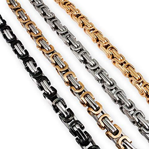 Fly Style Königskette oder Armband 5 mm Stärke aus Edelstahl, Farbwahl:Silber/schwarz, Längen:55 cm