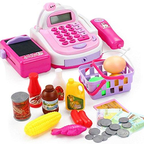Bescita Pretend Play Elektronisch Kasse Spielzeug Realistische Aktionen und Sounds mit Mikrofon Kinder - Register Cash Taste
