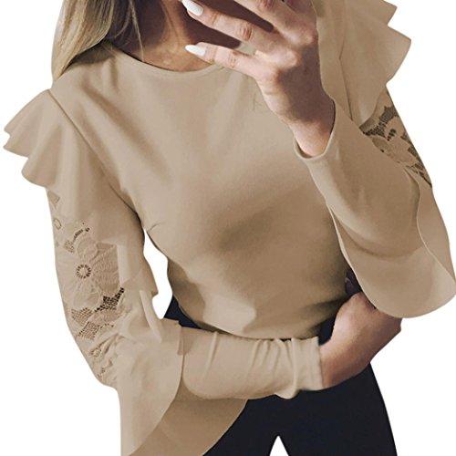 Camisetas de Encaje Mujer, LILICAT® Blusas Tops con Volantes 2018 Moda Elegante de manga larga O-cuello, Camisas mujer de vestir fiesta (S,  Caqui)