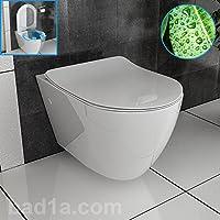 Cisterna Inodoro de borde con asiento de inodoro WC Con Efecto Lotus apto Geberit