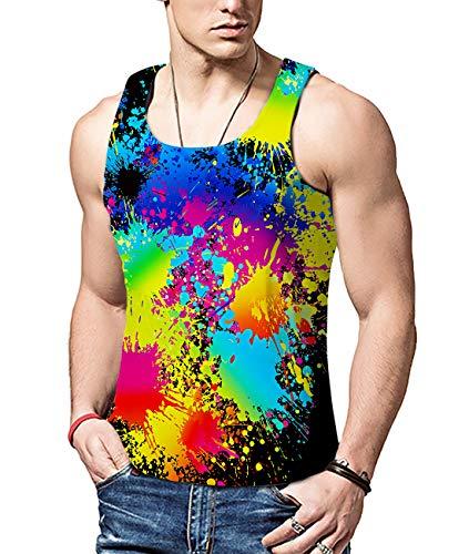 47e3ed980e ALISISTER Männer 3D Farbe Tank Top Weste T-Shirt Cool Tank Top Realistische  Underwaist Shirts Sport Gym Ärmelloses Muskelshirt XXL