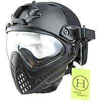 H World European Integrated Tactical Airsoft Paintball Gafas de protección completa Piloteer casco protector con protector facial extraíble (Negro, L/XL)