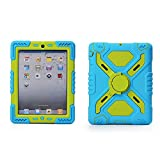 iPad Case,Multi Function Silicone Shockproof Dustproof Rugged Case Cover with Kickstand and Sticker for Apple iPad 2/3/4 Color(Blue&Grass green)