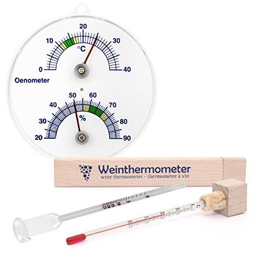 Lantelme 3 tlg. Önometer mit Thermometer und Hygrometer, Weinthermometer im Holz Etui und Glas Wein Vinometer Set