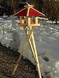 Maxi Vogelhaus XXXL Neu mit eckigem Eingang Vogelhäuschen vom Schreiner Holz Futterhaus Futterhäuschen Vogel Pavillon Vogelvilla mit oder ohne 3 Bein-Ständer Sonderpreis Futterspender (Premium Rot mit Ständer)