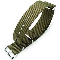 MiLTAT 22mm G10 NATO Watch Strap, Ballistic Nylon, Brushed, Military Green
