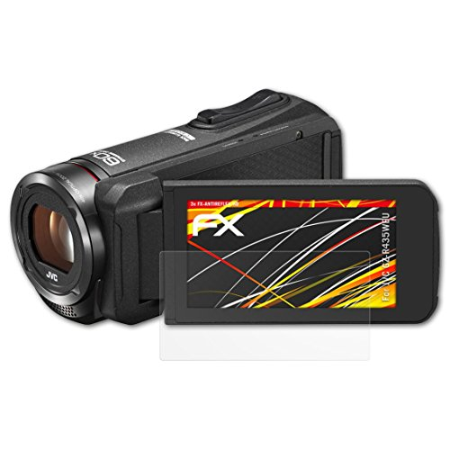 atFoliX Schutzfolie kompatibel mit JVC GZ-R435WEU Displayschutzfolie, HD-Entspiegelung FX Folie (3X) (Proof-hd-camcorder Quad Jvc)