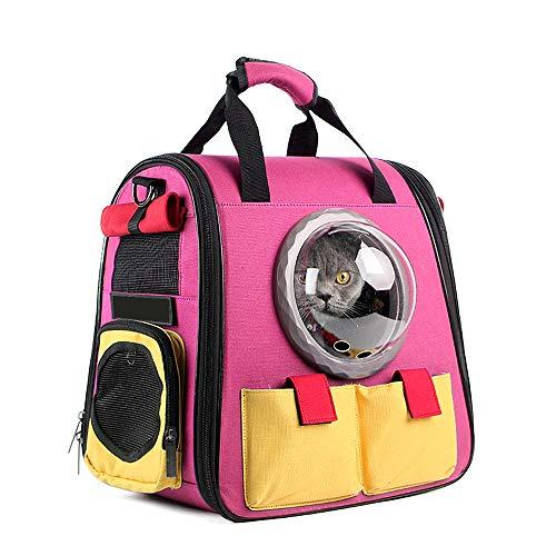 Aegilmc Pet Carrier Katzen Blase Rucksack, tragbare Wasserdichte Atmungsaktive Reisende Handtasche Kleiner Hund mit Lüfter Raum transparent Vision Kissen-Mat Kapsel,Pink,c