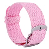 correa de reloj de perlón trenzado tejido de reemplazo de nylon hombres de venda mujer reloj de 14 mm 16 mm 18 mm 20 mm 22 mm de color rosa