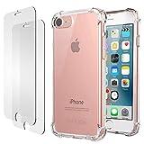 iPhone 7 8 Hülle, iPhone 7 8 Panzerglas, E-Unicorn Apple iPhone 7 8 Hülle Silikon Transparent Durchsichtig Tasche Schutzhülle + 2 Stück Schutzfolie Glas Folie Zubehör 9H 3D