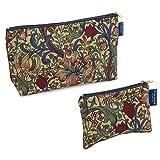 Blue Badge Company-Set coordinato di William Morris Golden Lily-Beauty case da uomo, in cotone e borsa imbottita porta trucchi, con fodera impermeabile