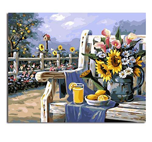 XIGZI Bilder Malen Nach Zahlen Blume Arbeit Manuelle Leinwand Ölgemälde Wohnkultur Für Wohnzimmer 40X50 cm,Mit Holzrahmen,H