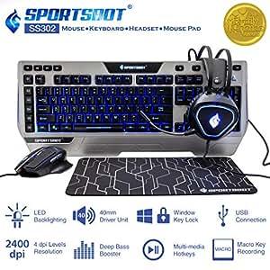 SportsBot SS302 4-in-1 LED Gaming Kit (Metallic Grey and Black)