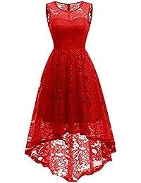 MuaDress Vestido Cóctel Vintage A-línea Hi-Lo Elegante Mujer Flor Encaje Vestidos De Fiesta