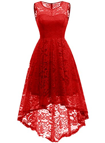 MuaDress MUA6006 Elegant Kleid aus Spitzen Damen Ärmellos Unregelmässig Cocktailkleider Party Ballkleid Rot L