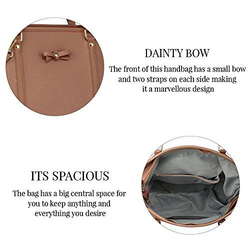 TrendStar Handtasche der Frauen faux Leder Damen Dekorative Bow Tie-Schulter-Beutel Schwarz/Nude