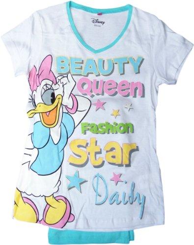 Disney Daisy Kurzarm Schlafanzug - Beauty Queen und Fashion Star Daisy - Weiß/Türkis