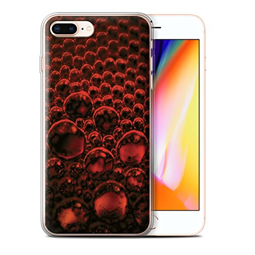 Stuff4 Gel TPU Hülle / Case für Apple iPhone 8 Plus / Pack 5pcs / Blasen/Tröpfchen Kollektion Rot