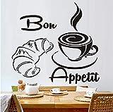 zhangsh Adesivi Murali Soggiorno Moderno caffè Croissant Francia Bon Appetit Wall Art Applique Cucina Ristorante Staccabile Carta da Parati di Grandi Dimensioni 46X43 Cm