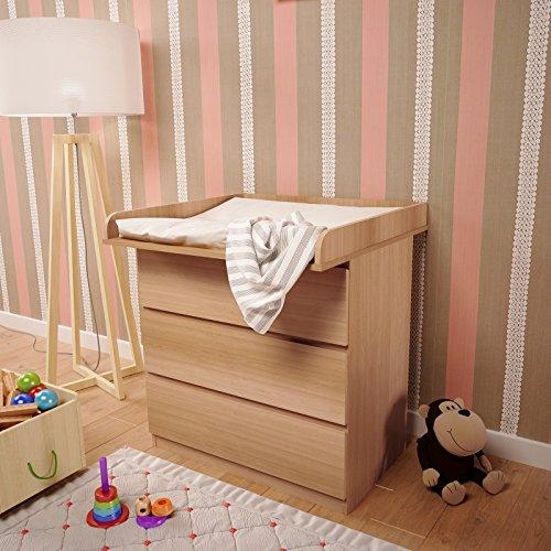 Polini Kids Wickelaufsatz Wickeltischaufsatz für Kommode IKEA MALM Farbauswahl (buche) -