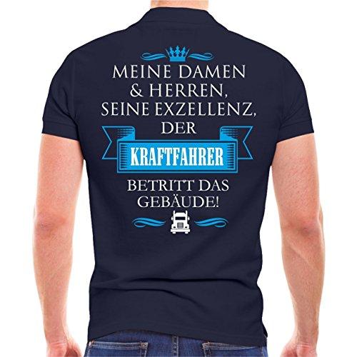 Männer und Herren POLO Shirt Seine Exzellenz DER KRAFTFAHRER (mit Rückendruck) Dunkelblau