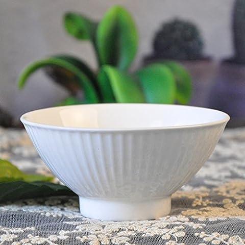 Yifom cerámica blanca simple tazón tazón de sopa de postre cuencos con 5.5cm alto 11,5 cm.