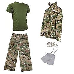Kids Pack 5 HMTC MTP MultiCam Match - Camo Pants, Shirt + T-shirt with Dog Tags