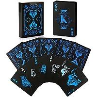 joyoldelf Wasserdichte Poker Spielkarten mit Wolfsmuster Plastik PVC-coole Karten mit der Geschenkbox, groß für Magie, Cardistry und Party