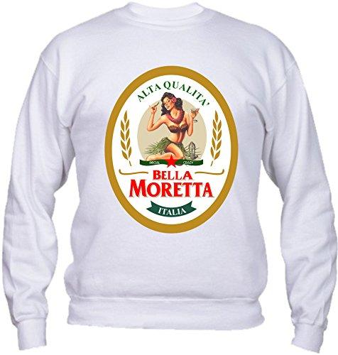 Felpa Girocollo BASIC top qualità top vestibilità - BELLA MORETTA birra drink humor divertenti MADE IN ITALY Bianco