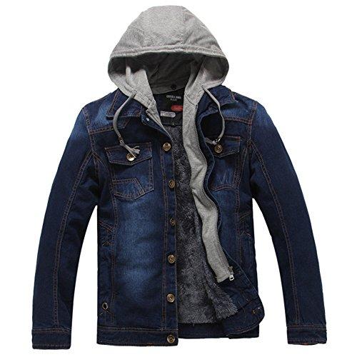 DeLamode Männer Denim Jacke Retro Samt Warmen Winter mit Hut Cowboy Jeans Mantel DarkBlue-XS