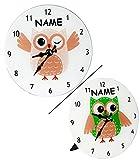 Wanduhr / Tischuhr / Standuhr - aus Glas - lustige Eule - incl. Namen - 18 cm Uhr - groß - für Kinderzimmer Kinderuhr - Analog - leise - fast lautlos / Mädchen Jungen - Kinder / Erwachsene - Eulen Blätter Glasuhr modern - Design