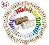2x60m Ficelle de Jute,200 Clips Photo en Bois Pinces à Linge colorées vêtir Papier Photo Craft DIY Fête Mariage Maison Noël