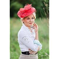 Hut Royal Ascot hat Ballhut Kentucky- Derby hat Pferderennen couture Millinery Sinamay hat Hochzeit Fascinator U34