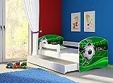 Clamaro 'Fantasia Weiß' 180 x 80 Kinderbett Set inkl. Matratze, Lattenrost und mit Bettkasten Schublade, mit verstellbarem Rausfallschutz und Kantenschutzleisten, Design: 14 Fußball Toor