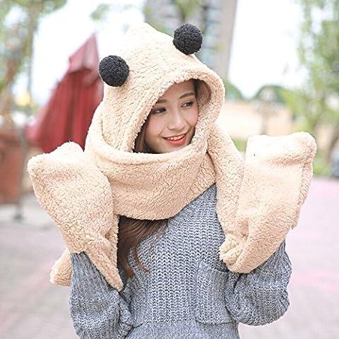 WJP sciarpa Hat guanti tre Kit pezzo coreano Onda a mano moda inverno cute calda lana lavorata a maglia cappelli insiemi W-390