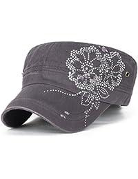 ililily Stollen Blumenmuster trimmen klassischer Stil abgenutztes Aussehen Baumwolle Militär Armee Hut Kadett Cap