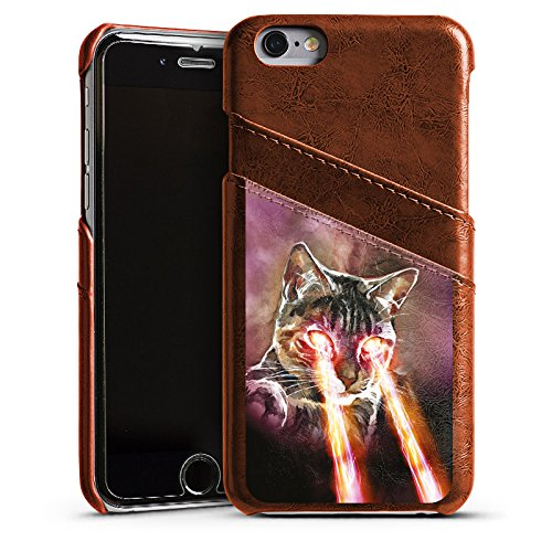 Apple iPhone 5s Housse Étui Protection Coque Chat Laser Chat Étui en cuir marron