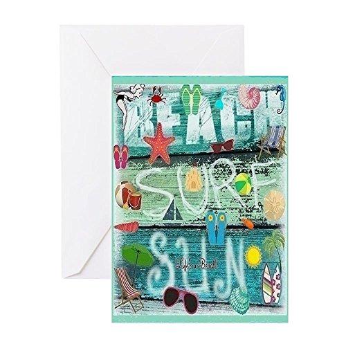 CafePress - Strandkarte S Grußkarten - Grußkarte (10-er Pack), Notizkarte mit blanko innen, Geburtstagskarte, glänzend