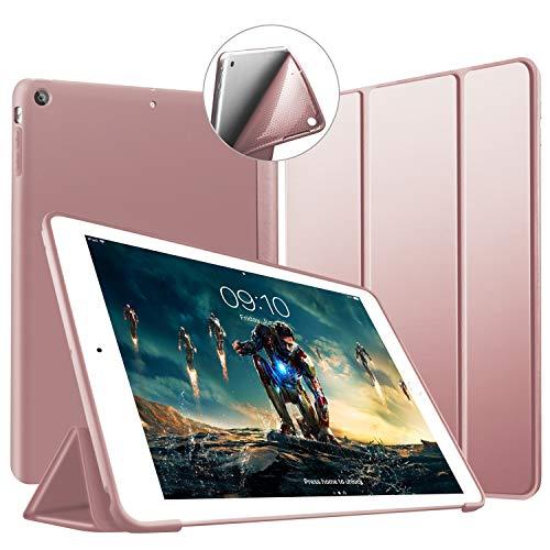 VAGHVEO Custodia per iPad Air, Ultrasottile e Leggere Smart Case con Funzione Auto Sleep/Wake Silicone Morbido TPU Cover per Apple iPad Air 1 9.7 Pollici 2013 (Modello A1474,1475,1476), Oro Rosa