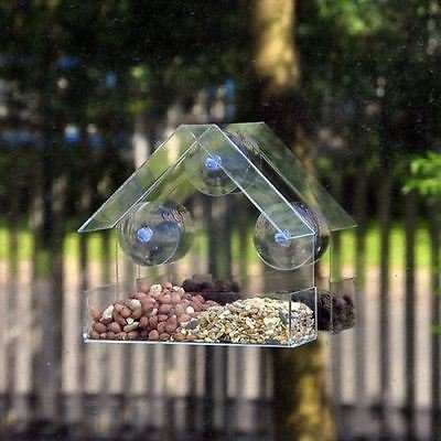New Glass Window Bird Feeder Table Seed Peanut Hanging Clear Viewing Bird Food by a2z-discounts