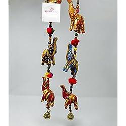 A1SONIC® Puerta india colgante ELEPHANT DEOCR Kalamkari pintado a mano elefantes cuerdas con cuentas y una campana de latón decoración de Navidad Decoración INDIAN