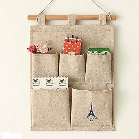AAA + Un cotone e lino 5tasche parete Porta armadio Hanging Storage Bag multistrato Organizer salvaspazio