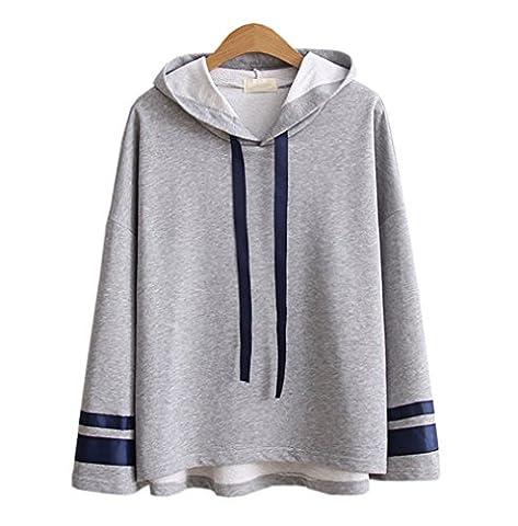 DaBag Damen Herbst Dünn Gestreift Kapuzenpullover College Kawaii Sweatshirts Studentisch Pullover Langarm Sweater (One size, Grau)