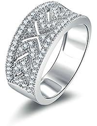 Beydodo Ringe Silber 925 Damen Hohl Rund Brillant Weiß Zirkonia Partnerring  Verlobungsring Silber 4c4eee3de4