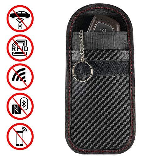 Bloqueador de señal portátil Caso de llave de coche Caja de llave de coche Señal Faraday Jaula Sin llave de entrada Fob Bolsa Bolsa de bloqueo con llavero Anillo 1pc / 2 unids (Color : Black-2pcs)