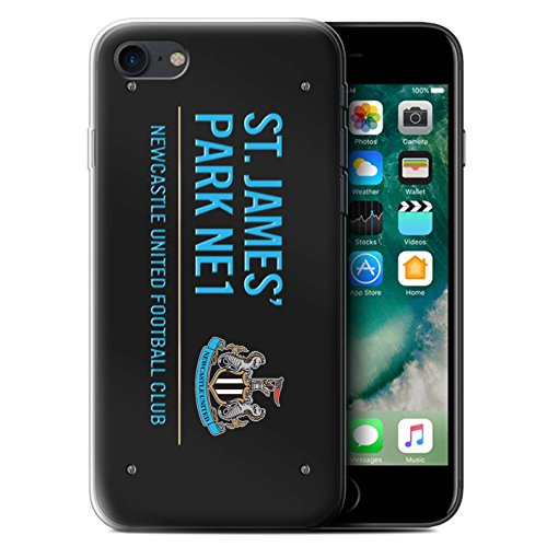 Officiel Newcastle United FC Coque / Etui Gel TPU pour Apple iPhone 7 / Noir/Or Design / St James Park Signe Collection Noir/Bleu