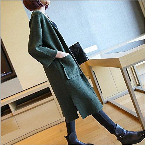 Bigood Pull Cardigan Longue Slim Veste Tricot Manteau Femme Manches Longue Avec Poche Vert