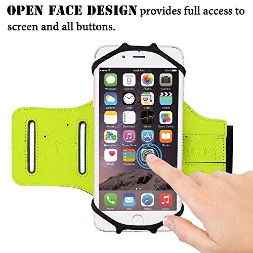 6 Zoll Sport Handy Armband Sweatproof Hülle Case + Schlüsselhalter für Smart Phone(Armbänder, Grün)